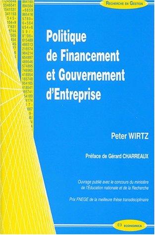 Politique de financement et gouvernement d'entreprise (Peter Wirtz)